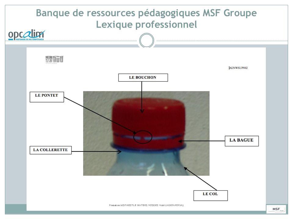 Banque de ressources pédagogiques MSF Groupe Lexique professionnel