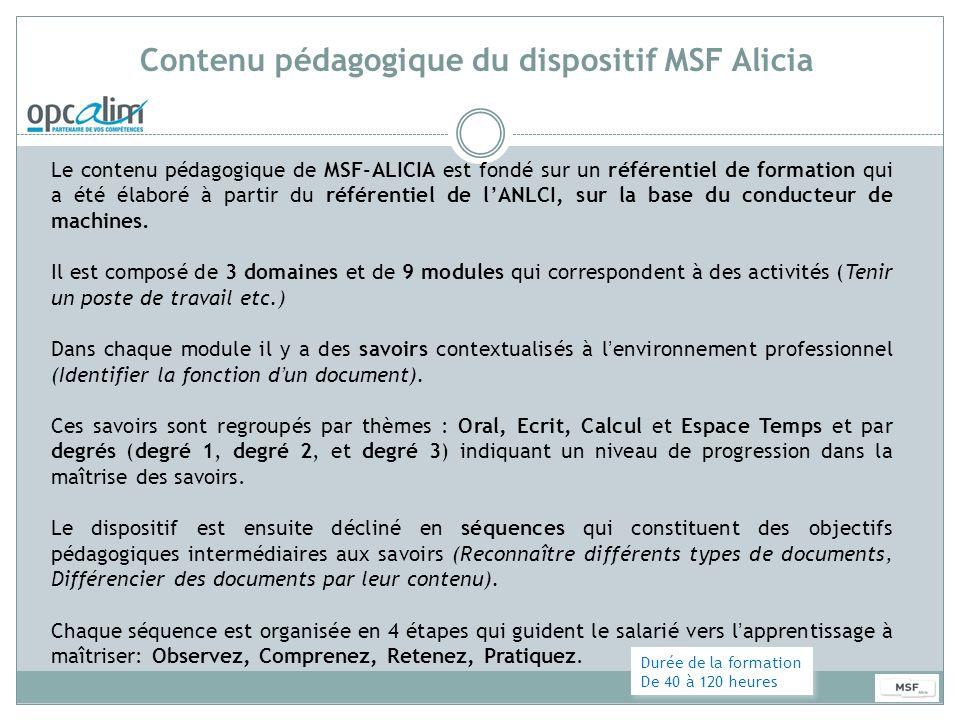 Contenu pédagogique du dispositif MSF Alicia