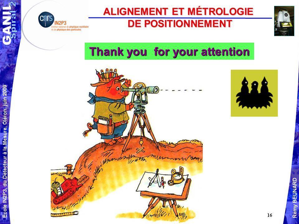 ALIGNEMENT ET MÉTROLOGIE Thank you for your attention