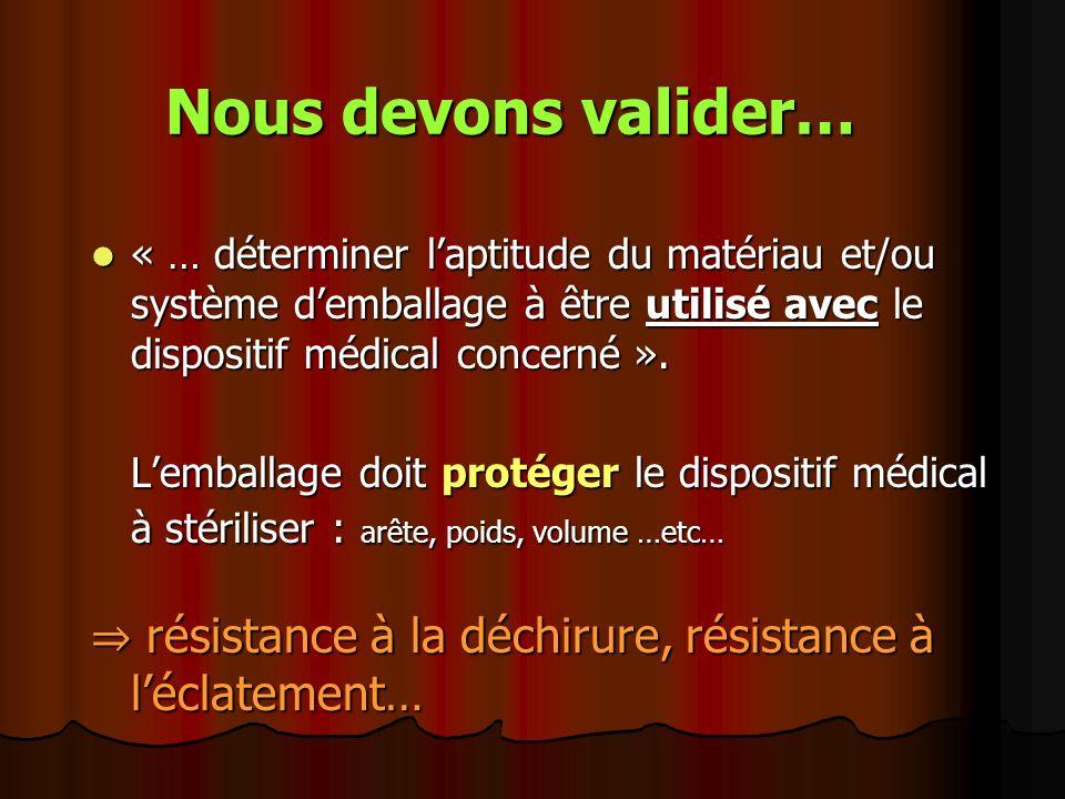 Nous devons valider… « … déterminer l'aptitude du matériau et/ou système d'emballage à être utilisé avec le dispositif médical concerné ».