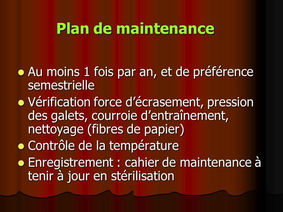 Plan de maintenance Au moins 1 fois par an, et de préférence semestrielle.