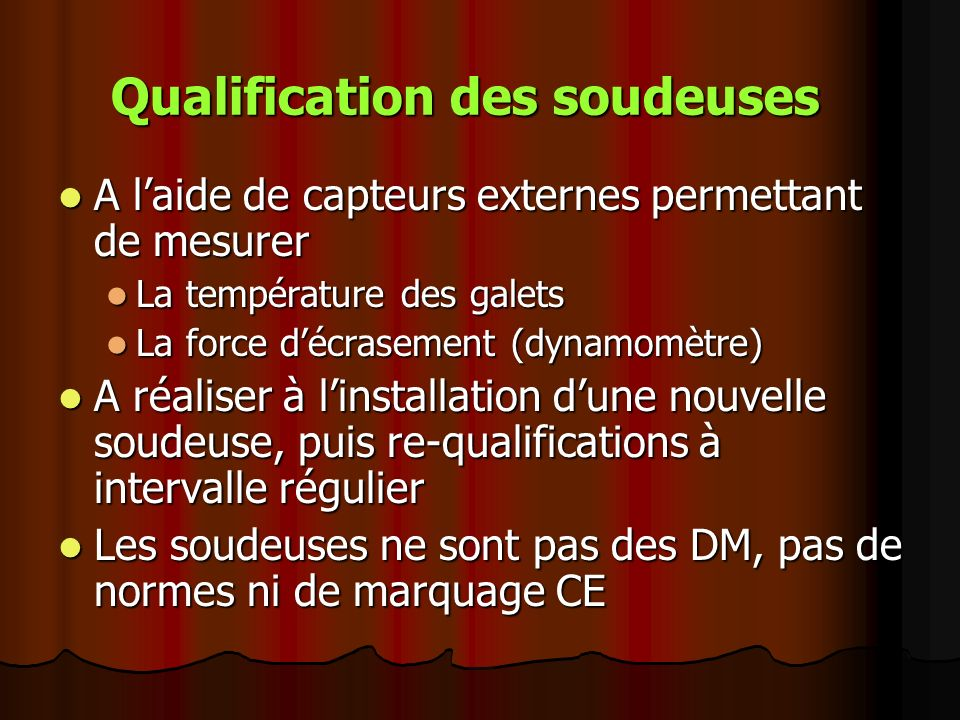 Qualification des soudeuses