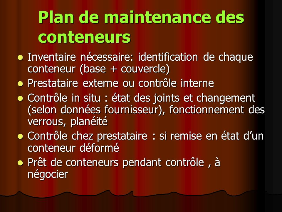 Plan de maintenance des conteneurs