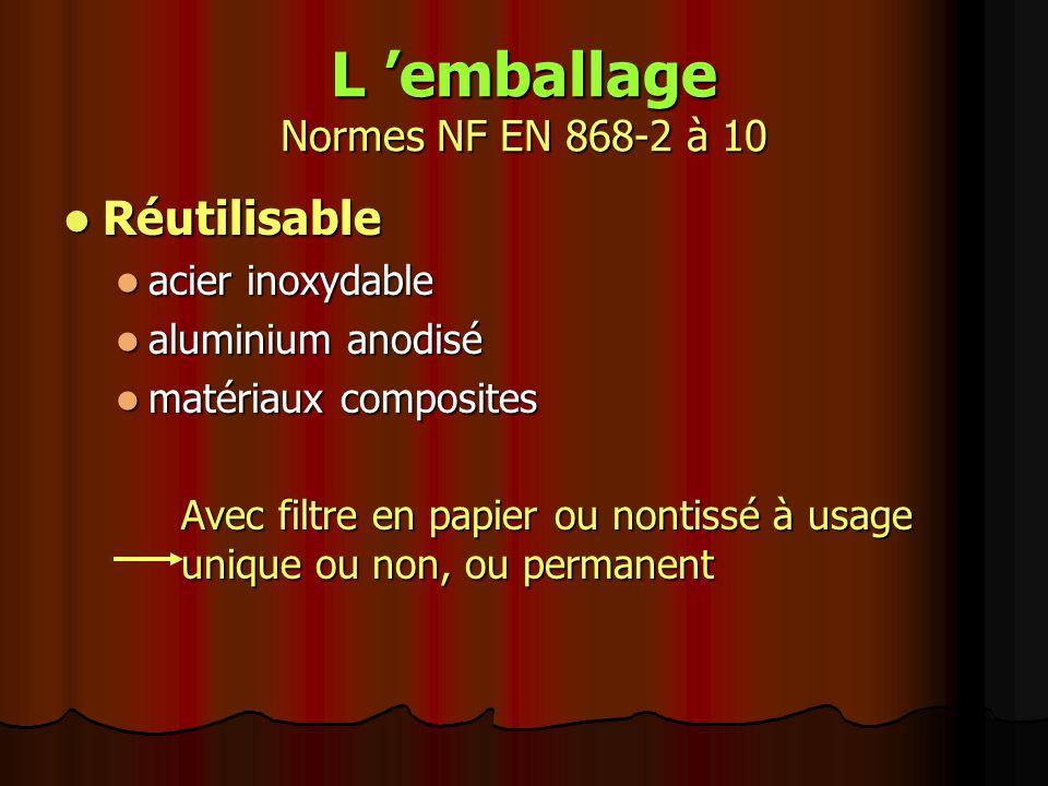 L 'emballage Normes NF EN 868-2 à 10