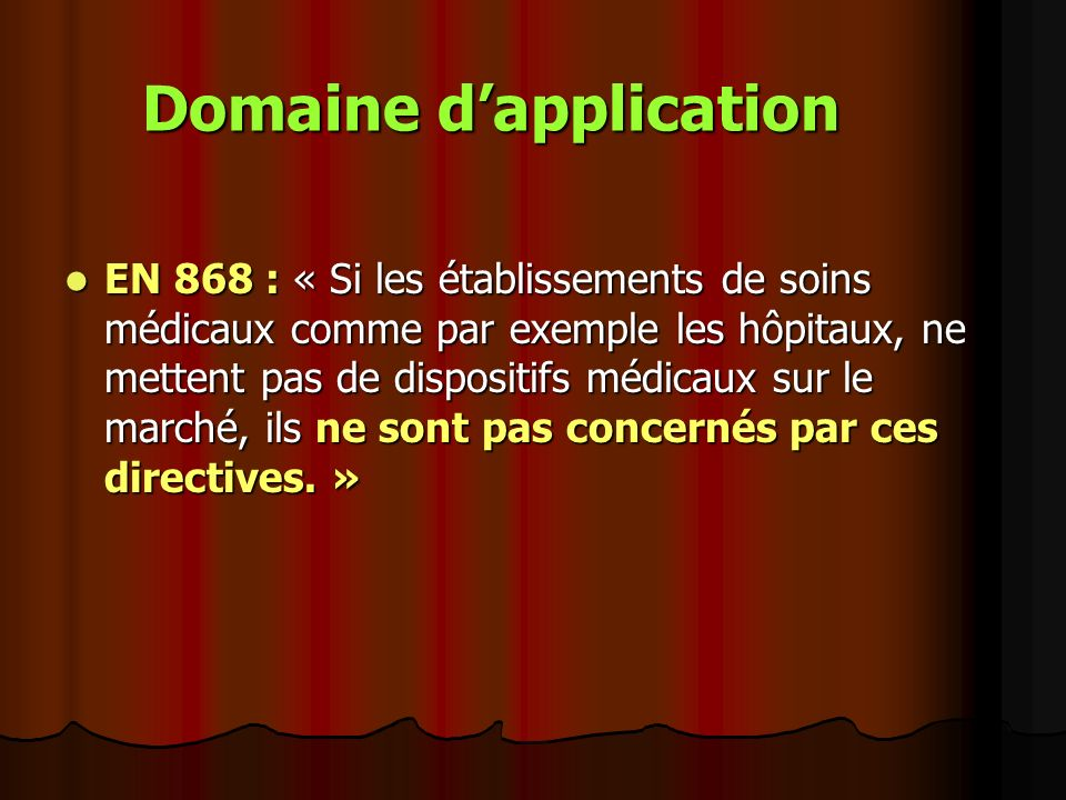 Domaine d'application