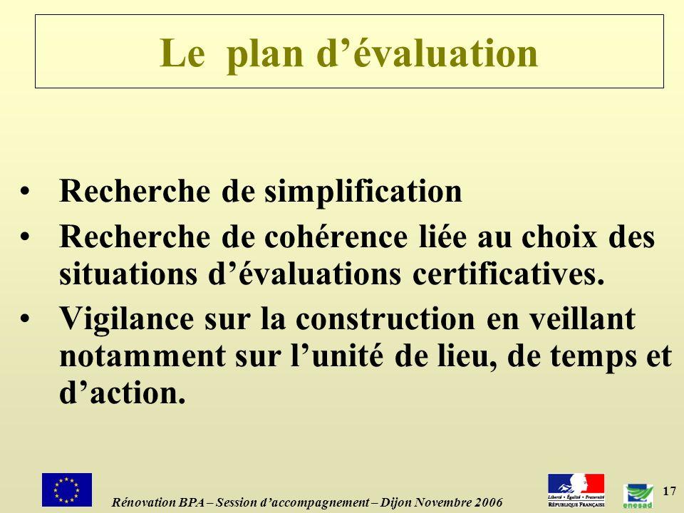 Le plan d'évaluation Recherche de simplification