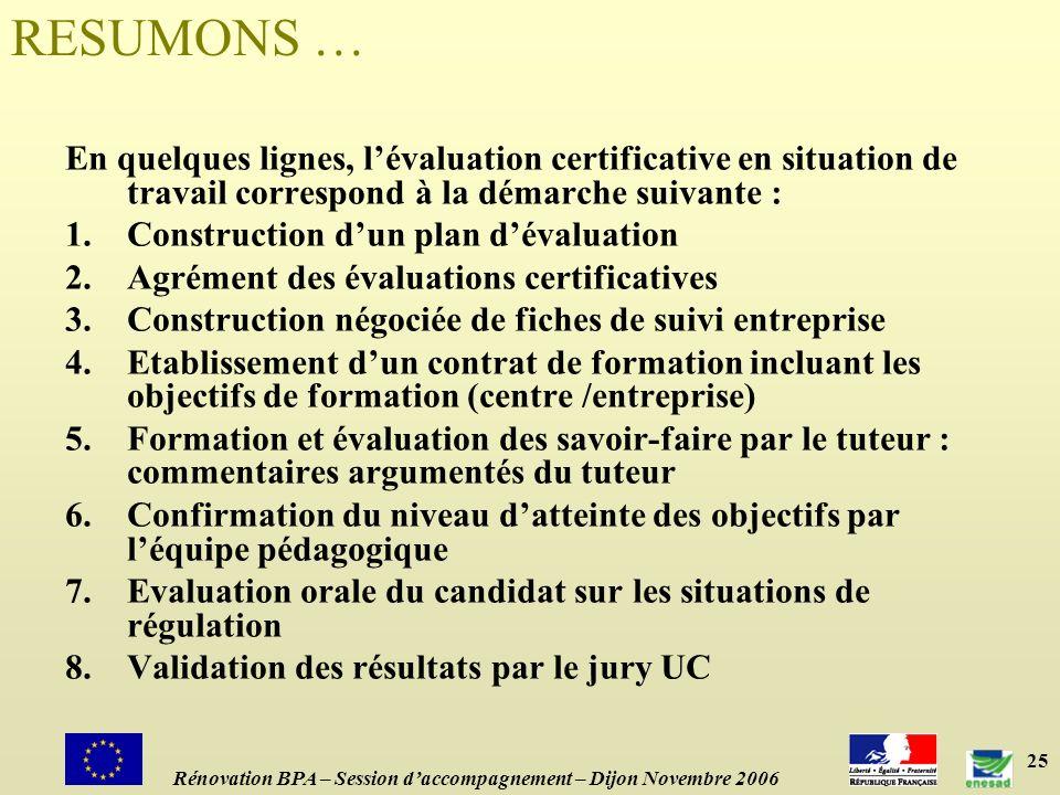RESUMONS … En quelques lignes, l'évaluation certificative en situation de travail correspond à la démarche suivante :