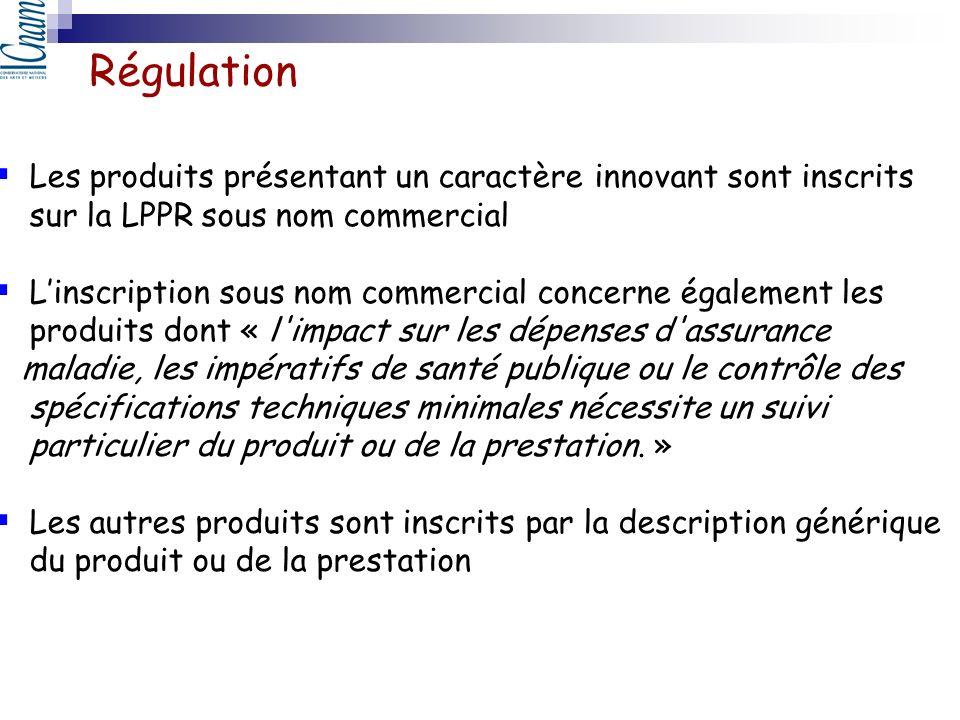Régulation Les produits présentant un caractère innovant sont inscrits sur la LPPR sous nom commercial.