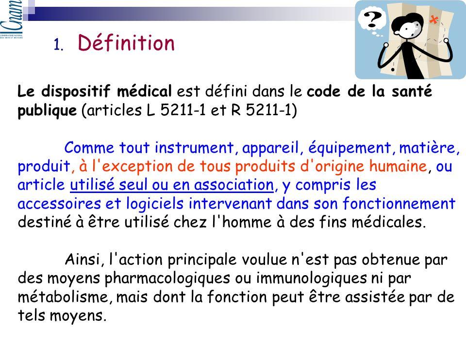 Définition Le dispositif médical est défini dans le code de la santé publique (articles L 5211-1 et R 5211-1)