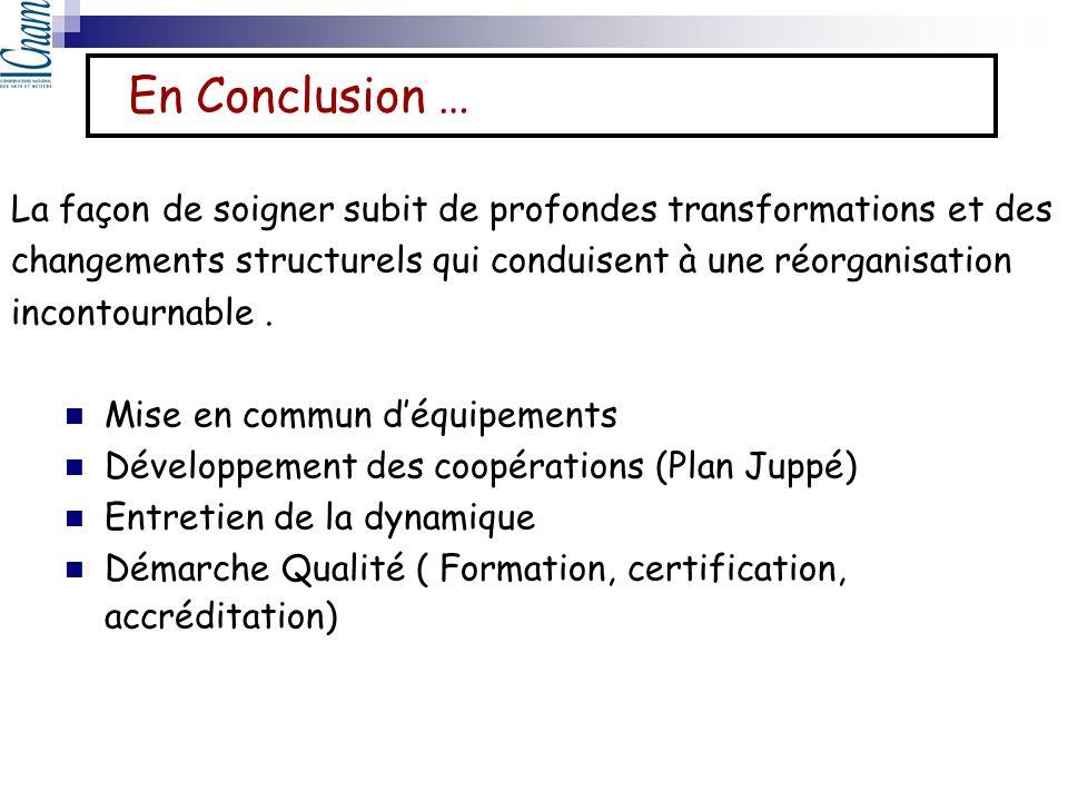 En Conclusion … La façon de soigner subit de profondes transformations et des. changements structurels qui conduisent à une réorganisation.