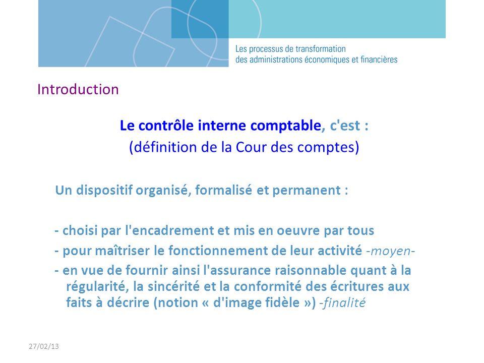 Le contrôle interne comptable, c est :