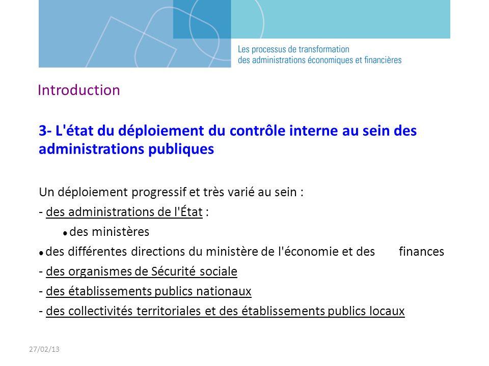 27/02/13 Introduction. 3- L état du déploiement du contrôle interne au sein des administrations publiques.