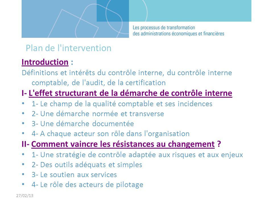 Plan de l intervention Introduction :
