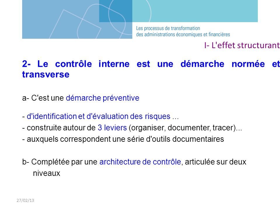 2- Le contrôle interne est une démarche normée et transverse