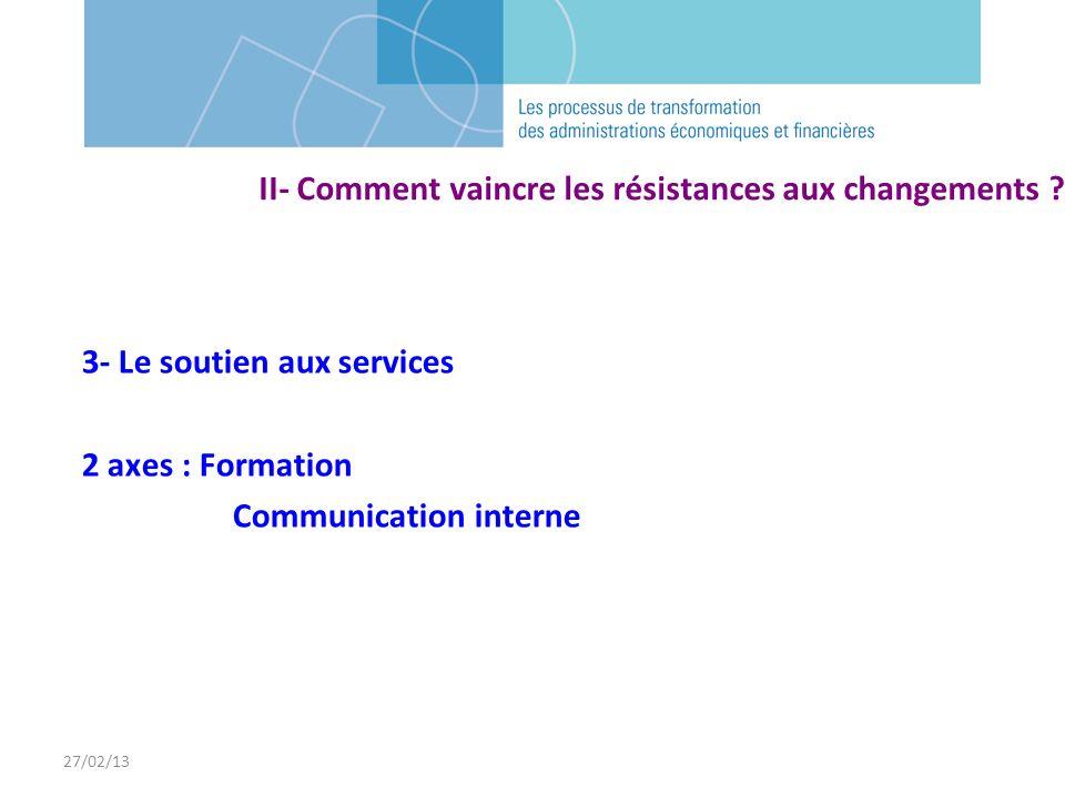 3- Le soutien aux services 2 axes : Formation Communication interne