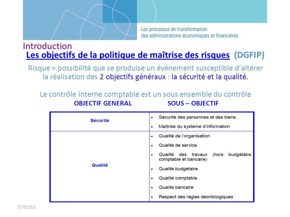 Les objectifs de la politique de maîtrise des risques (DGFIP)