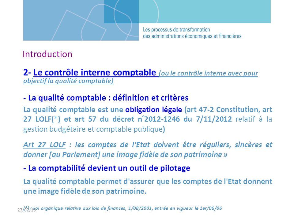 27/02/13 Introduction. 2- Le contrôle interne comptable (ou le contrôle interne avec pour objectif la qualité comptable)