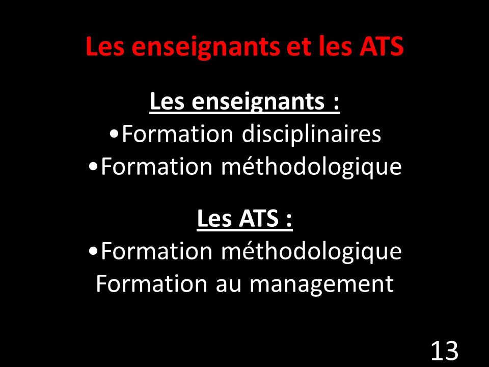 Les enseignants et les ATS