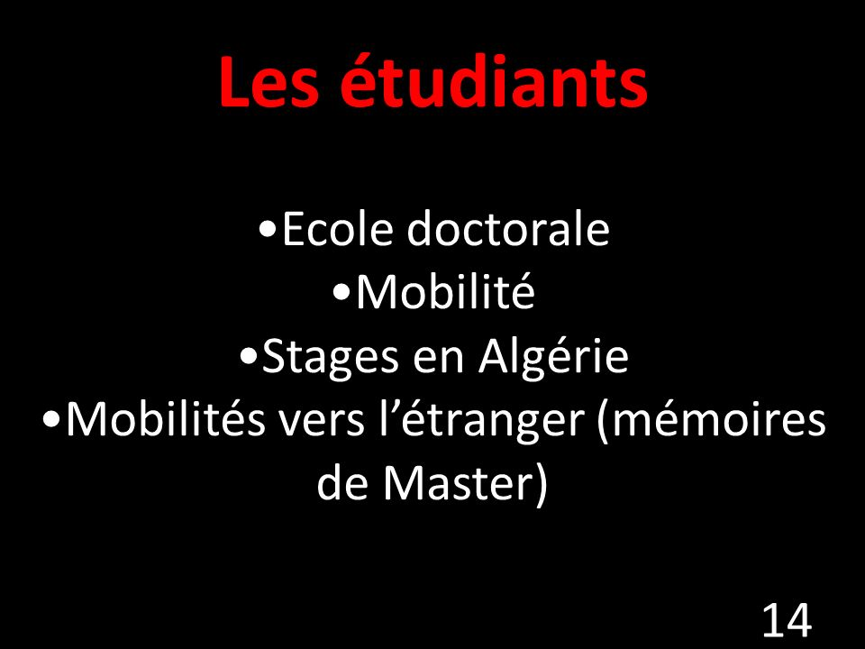 Mobilités vers l'étranger (mémoires de Master)