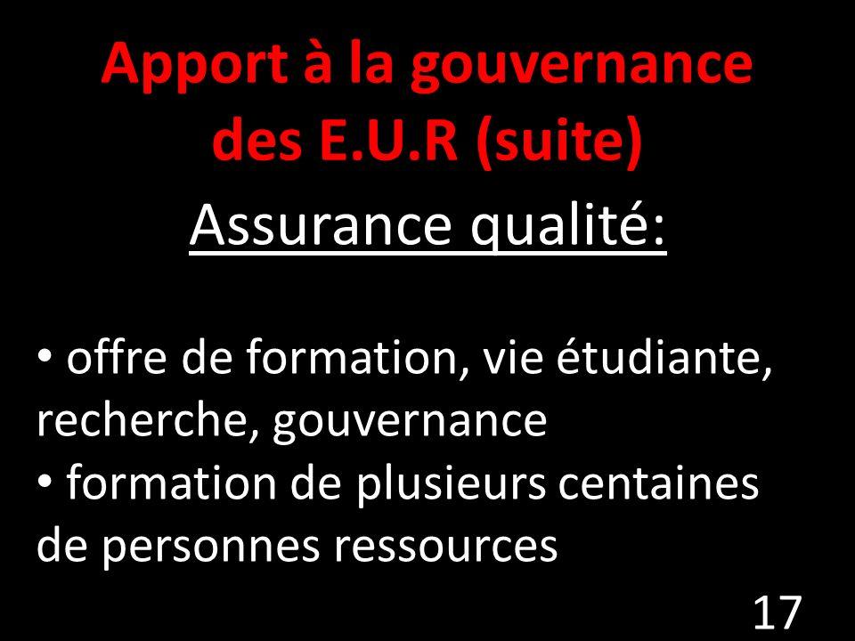 Apport à la gouvernance des E.U.R (suite)