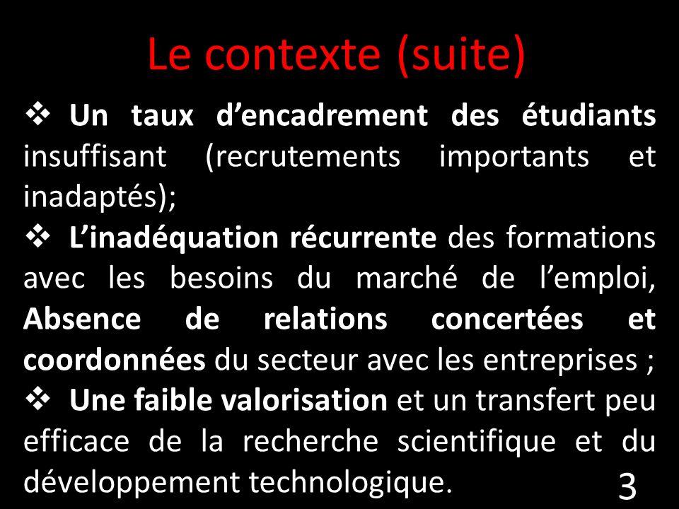Le contexte (suite) Un taux d'encadrement des étudiants insuffisant (recrutements importants et inadaptés);
