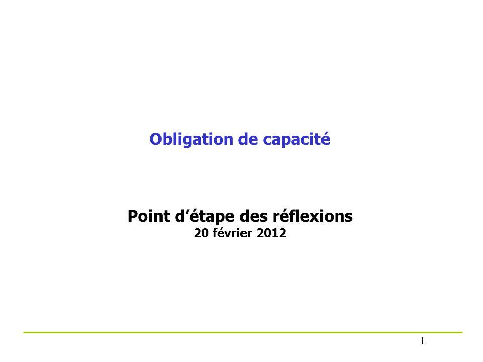 Obligation de capacité Point d'étape des réflexions 20 février 2012