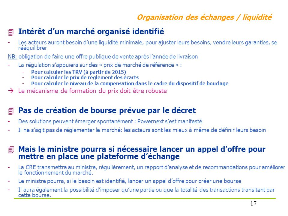 Intérêt d'un marché organisé identifié