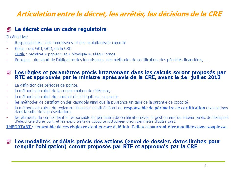 Articulation entre le décret, les arrêtés, les décisions de la CRE