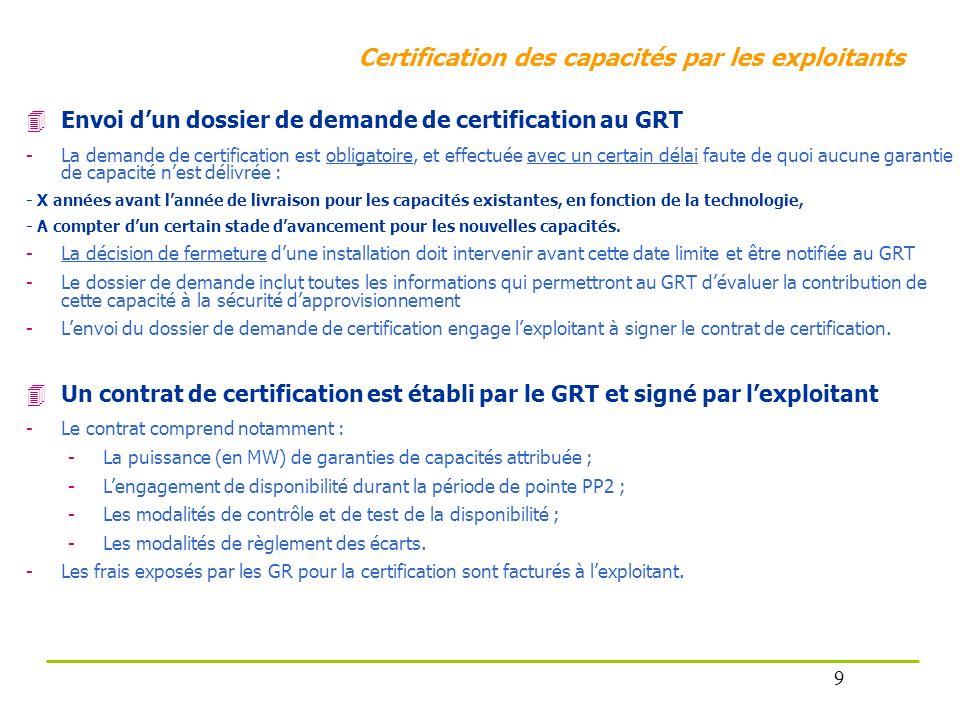 Certification des capacités par les exploitants