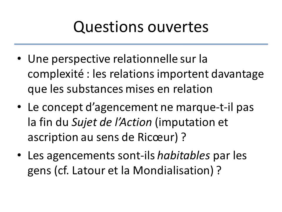 Questions ouvertes Une perspective relationnelle sur la complexité : les relations importent davantage que les substances mises en relation.