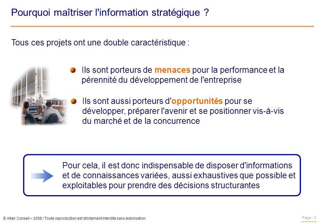 Pourquoi maîtriser l information stratégique