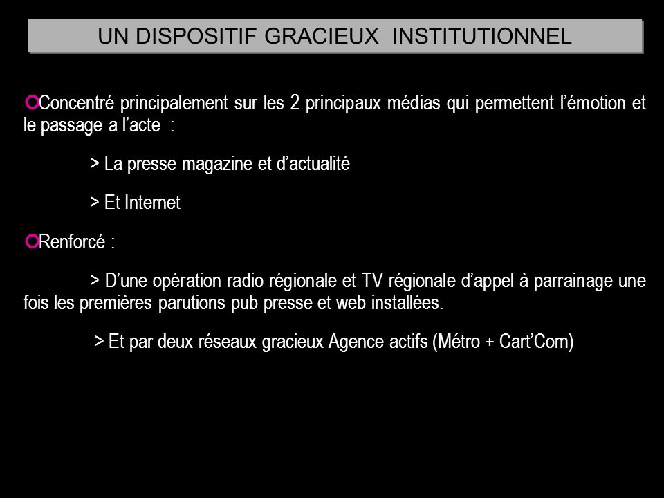 UN DISPOSITIF GRACIEUX INSTITUTIONNEL