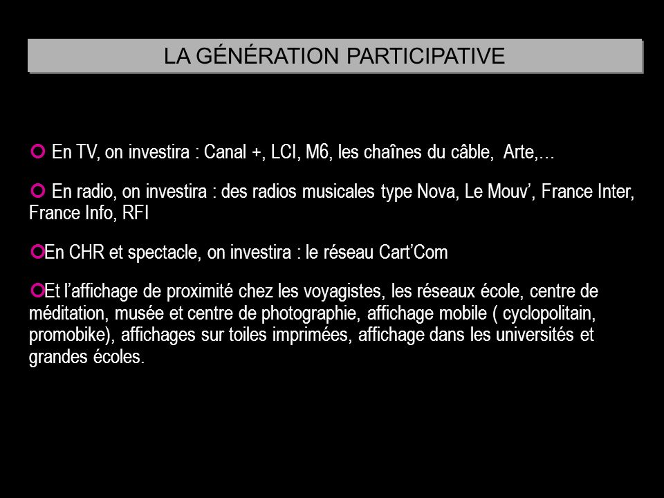 LA GÉNÉRATION PARTICIPATIVE