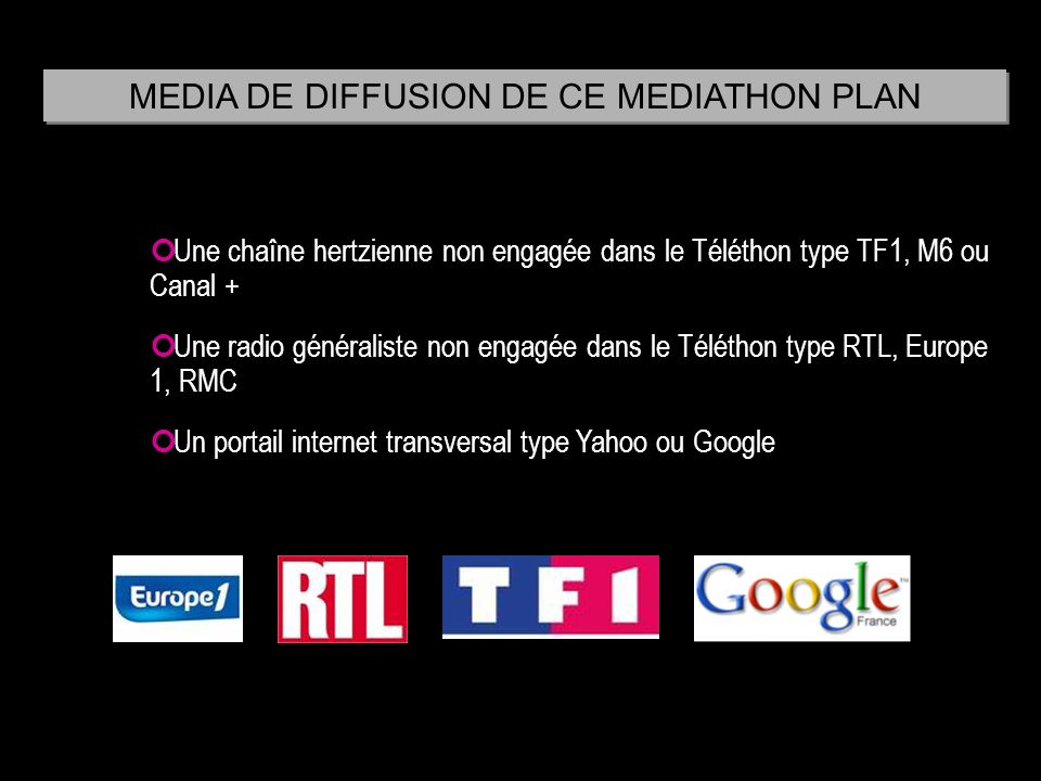 MEDIA DE DIFFUSION DE CE MEDIATHON PLAN