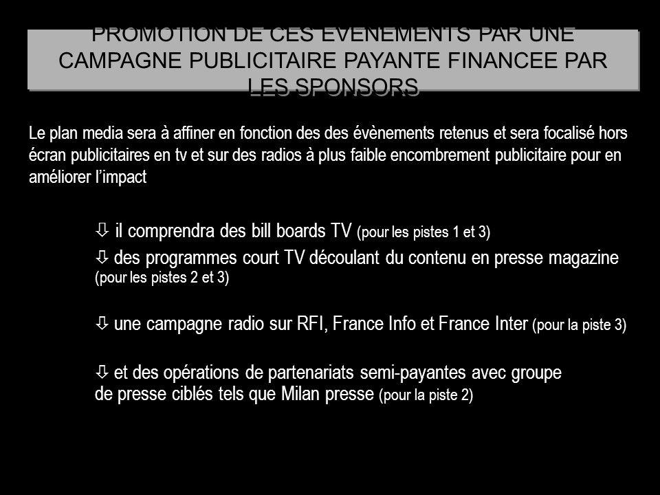 PROMOTION DE CES EVENEMENTS PAR UNE CAMPAGNE PUBLICITAIRE PAYANTE FINANCEE PAR LES SPONSORS