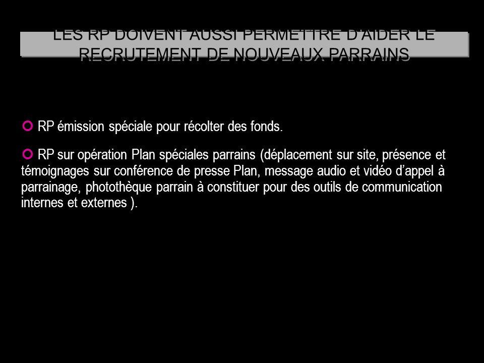 LES RP DOIVENT AUSSI PERMETTRE D'AIDER LE RECRUTEMENT DE NOUVEAUX PARRAINS