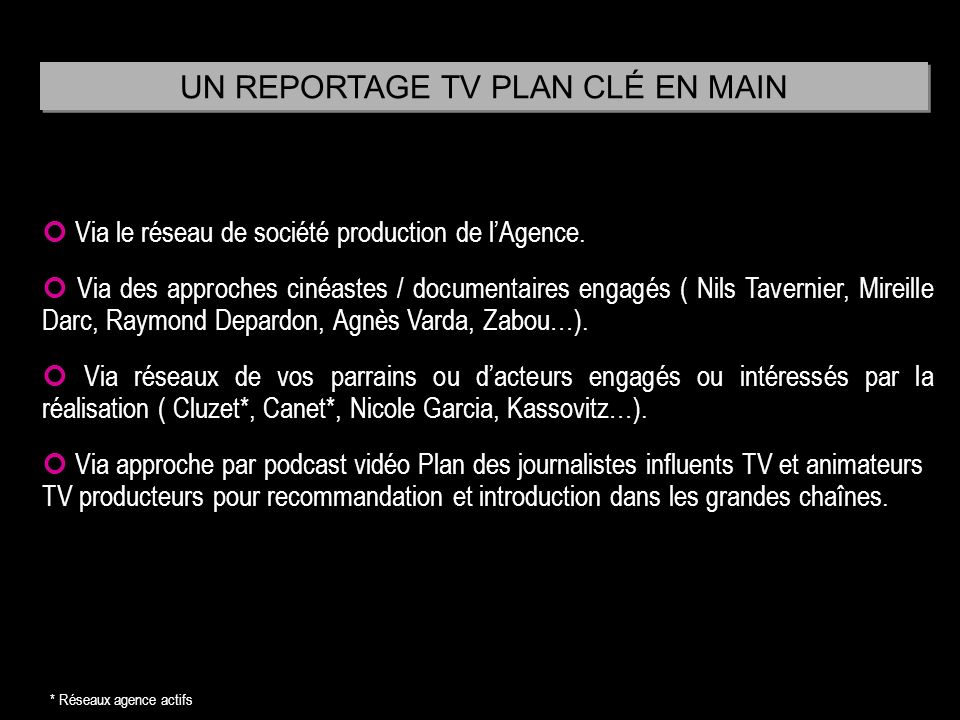 UN REPORTAGE TV PLAN CLÉ EN MAIN