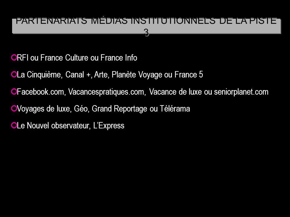 PARTENARIATS MÉDIAS INSTITUTIONNELS DE LA PISTE 3