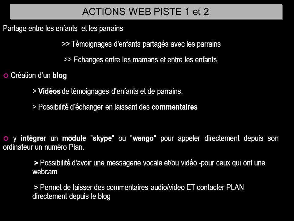 ACTIONS WEB PISTE 1 et 2 Partage entre les enfants et les parrains