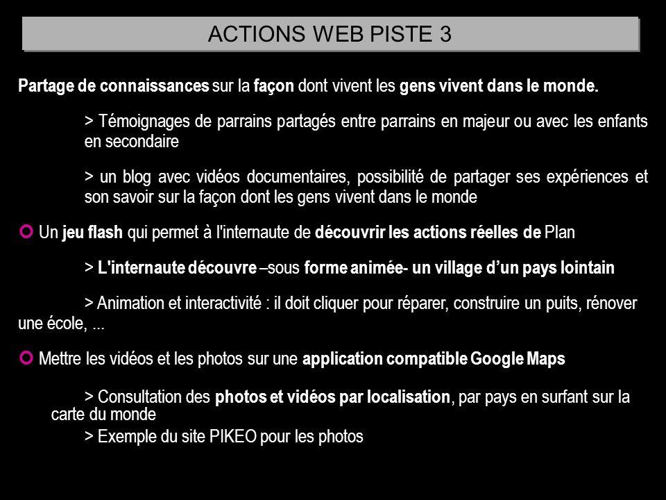 ACTIONS WEB PISTE 3 Partage de connaissances sur la façon dont vivent les gens vivent dans le monde.