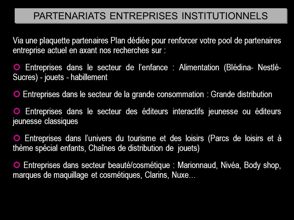 PARTENARIATS ENTREPRISES INSTITUTIONNELS