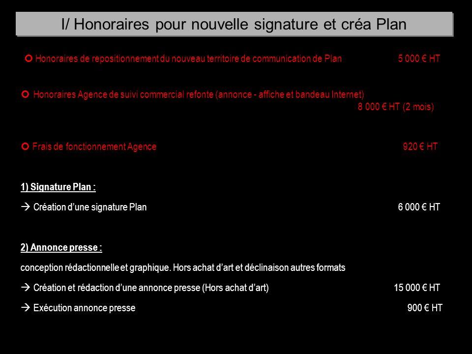 I/ Honoraires pour nouvelle signature et créa Plan