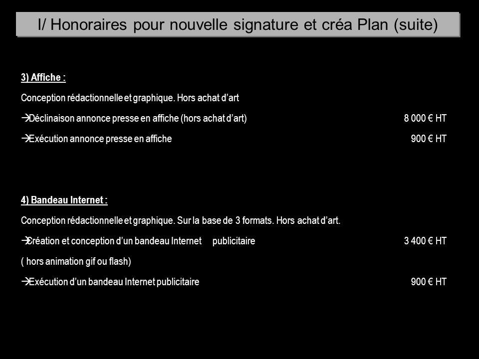 I/ Honoraires pour nouvelle signature et créa Plan (suite)