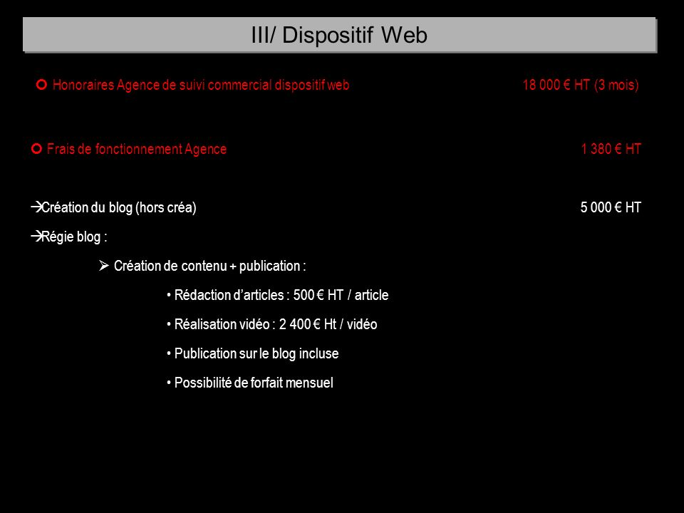 III/ Dispositif Web  Honoraires Agence de suivi commercial dispositif web 18 000 € HT (3 mois)