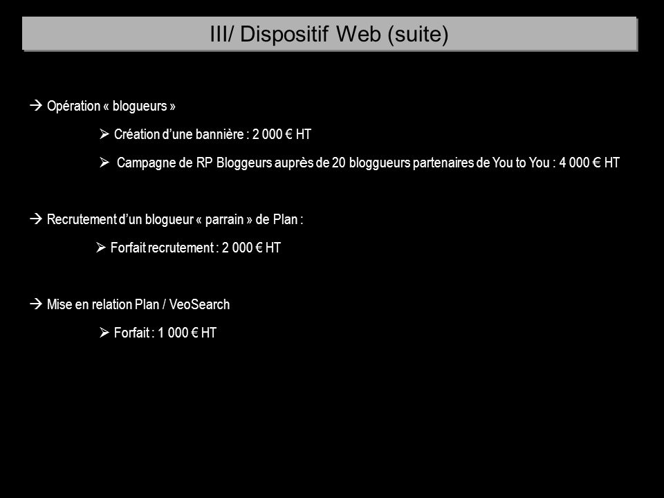 III/ Dispositif Web (suite)
