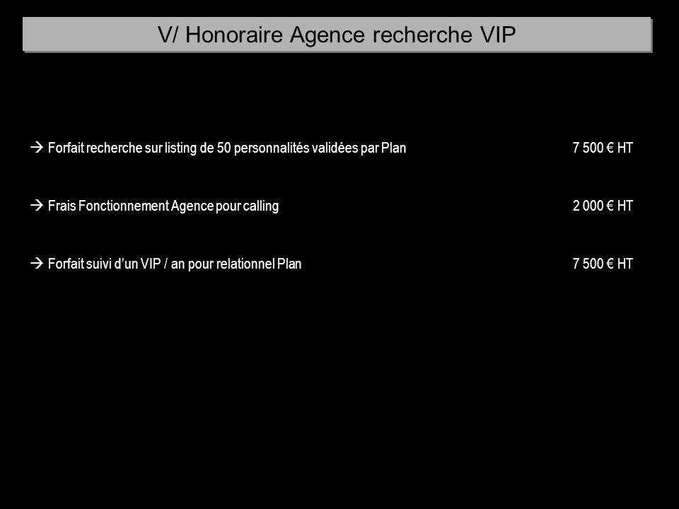 V/ Honoraire Agence recherche VIP