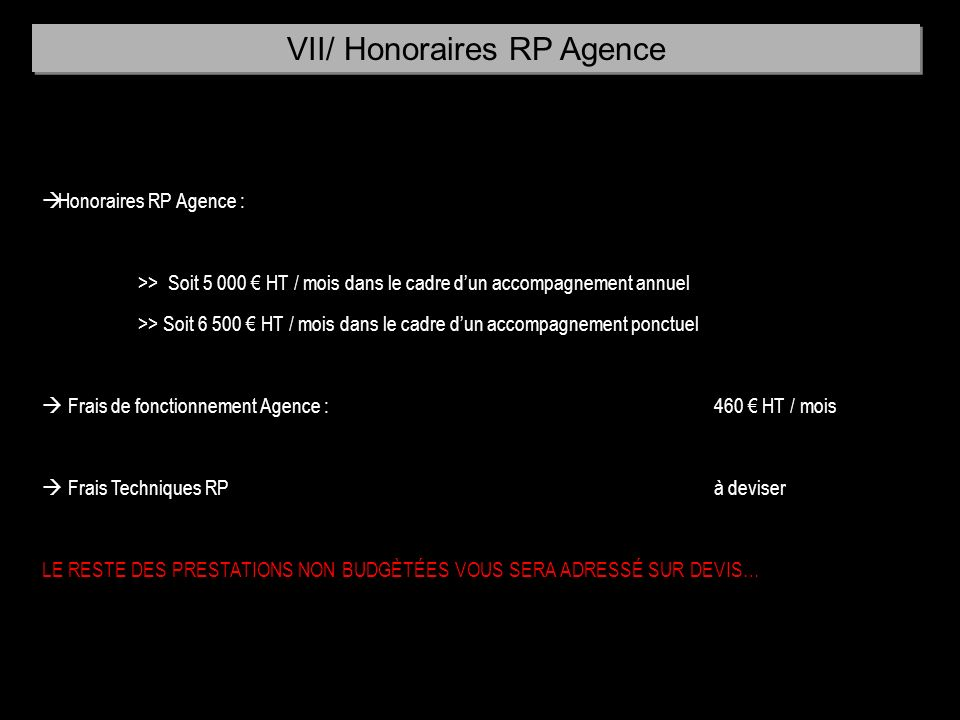 VII/ Honoraires RP Agence