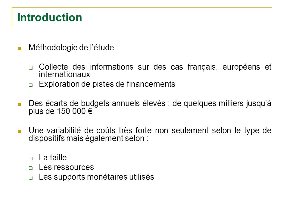 Introduction Méthodologie de l'étude :