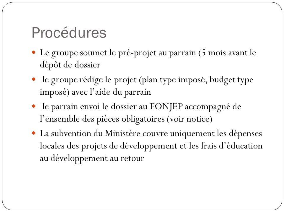 Procédures Le groupe soumet le pré-projet au parrain (5 mois avant le dépôt de dossier.