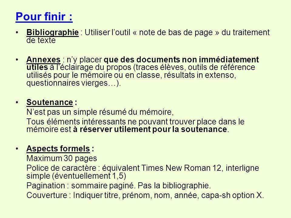 Pour finir : Bibliographie : Utiliser l'outil « note de bas de page » du traitement de texte.
